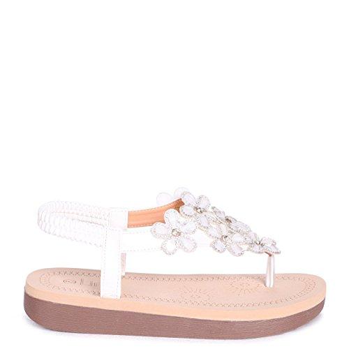 Martine und White Sandale Weiße Linzi Memory Foam Blumenmuster mit Inner dZFaWq