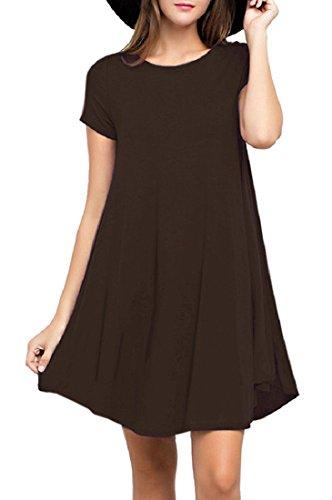 Extra Long T-shirt Jersey - Viishow Women's Short Sleeve Casual Loose T-Shirt Dress Coffee S