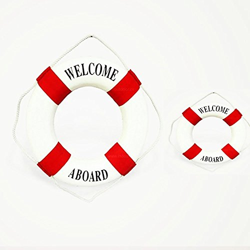 2 PCS Red Different Size Welcome Aboard Cloth Decorative Life Ring,6&10 Inches New for (Decorative Life)