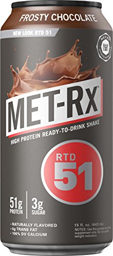 (MET-Rx RTD 51 Protein Shake, Ready to Drink and Convenient for Meal Replacement, Low Carb, Frosty Chocolate, 15 oz, 12 Count )