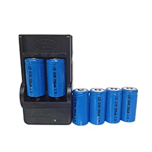 ON THE WAY®6Pcs Rechargeable 16340 LED Flashlight Torch Battery li 2000mah 3.7V + Charger