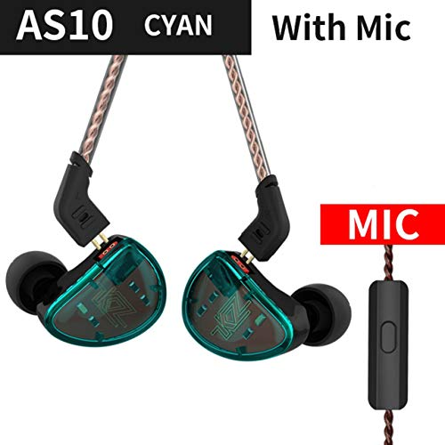 ❣KZ AS10 Wired Earphones 4BA+1 DD Hybrid in Ear Headphone HiFi Bass Headset Noise Canceling Earphone Earbuds with Mic❣