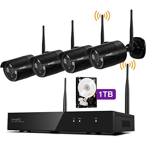 xmartO Security Camera System Wireless | 4-Pack 1080p HD Security Cameras w/ 4CH H.265+ NVR 1TB HDD Inside, Quad-View on Screen/Mobile, Easy Remote View/Playback, IP66 Weatherproof, IR Night Vision