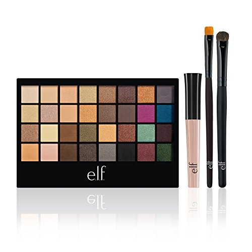 e.l.f. 32 Piece Eyeshadow Palette with 2 Brushes and Eyelid Primer Set