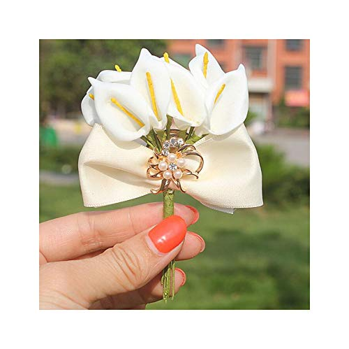 (CHRISTY M Ivory Bow Tie Calla Lily Flowers Wedding Corsages Groom Gold Diamond Crystal Wedding Brooch Pin,Ivory)