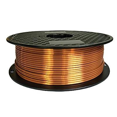 Silk Copper PLA 2.85mm 3D Printer Filament 1 KG (2.2 lbs) Spool 3D PLA Printing Material Silky PLA Metal Red Copper Like