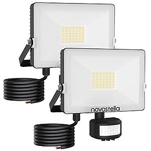30W Outdoor Security Lights Motion Sensor, Novostella 3000LM LED PIR Floodlights, IP65 Waterproof Spotlight, 6000K…