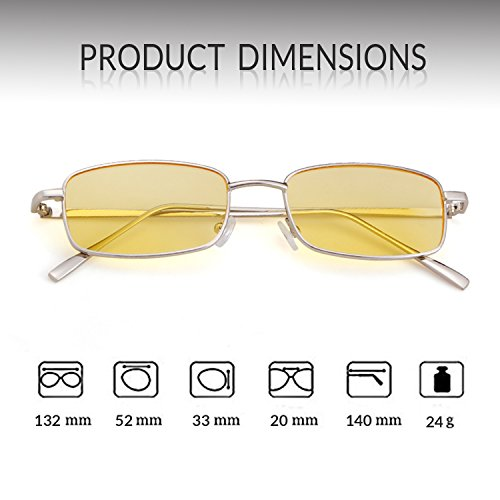Frame Men Square Women Lens Fashion Sunglasses for ADEWU New Silver Glasses Yellow Retro 1q4Pnw0x