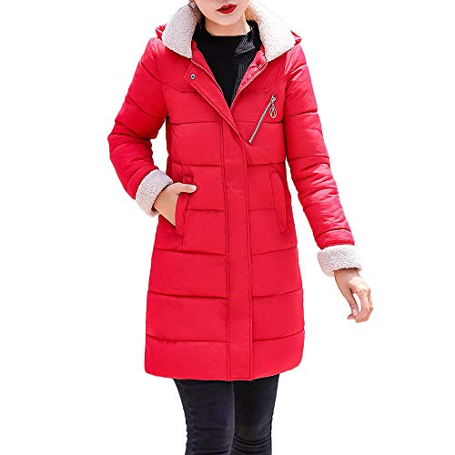 kaifongfu Padded Coat,Winter Thick Warm Coat Women Hooded Jacket Long Overcoat(Red,XXL)