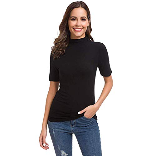 (YYVVAA Womens Summer Short Sleeve Letter Turtleneck Tops Tee Shirt Top Blouse Black)