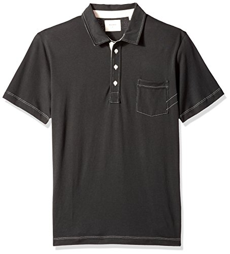 Polo Rags - Billy Reid Men's Short Sleeve Pensacola Polo Shirt With Pocket, Black Solid, M