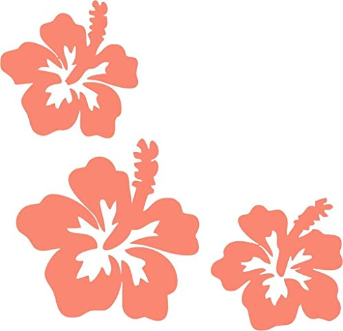 Handmade Adhesive Borders - Hibiscus Flower Corner Border 2 Vinyl Decal Sticker for Window ~Car ~ Truck~ Boat~ Laptop~ iPhone~ Wall~ Motorcycle~ Gaming Console~ Size 8.29