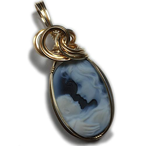 Genuine Cameo PENDANT 14k Gold Filled Mother and Child Carved Agate with Black Leather Necklace Wire Wrapped Jewelry by Rocks2Rings 1825g3-6 Z
