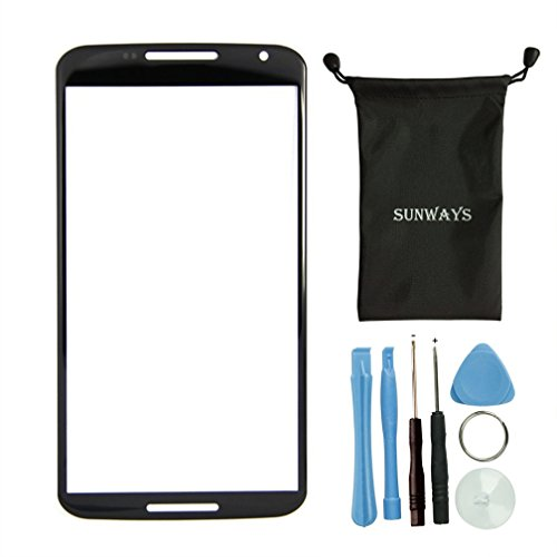 Sunways Front Screen Outer Glass Replacement Part For Google Nexus 6 Motorola Xt1100 Xt1103 Black+tools