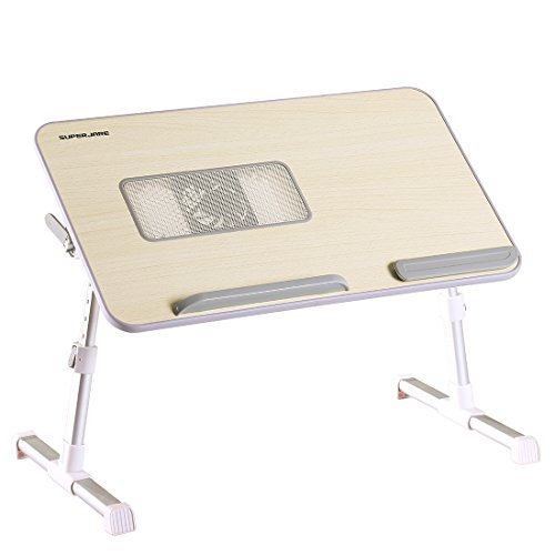 Adjustable Laptop Table Built-in Cooling Fan, Superjare Portable Standing Desk, Notebook Stand Reading Holder For Couch Floor, Bed Tray Table with Foldable Legs Image