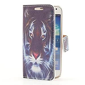 WQQ Style Funda de Cuero Head Tiger con ranura para tarjetas y soporte para Samsung Galaxy S4 Mini i9190