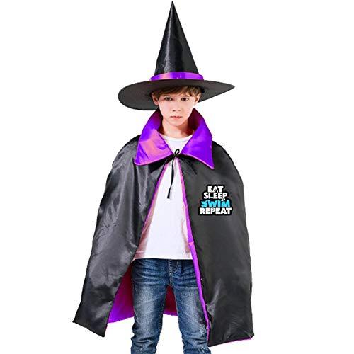 Kids Cloak Eat Sleep Swim Repeat Wizard Witch Cap Hat Cape All Hallow Mas Costume Magician Halloween Party Boys DIY Prop