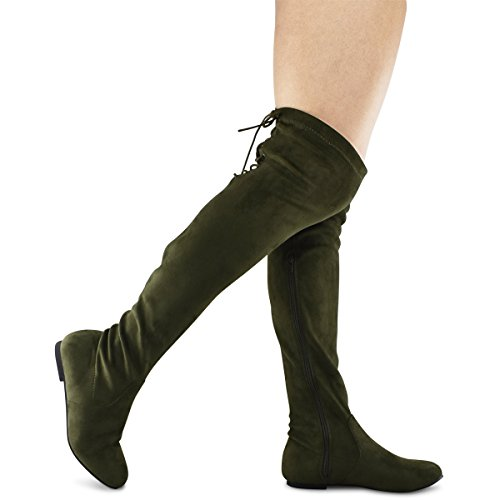 Premier Standard Damenmode Bequeme Vegane Wildleder Blockabsatz Seitlicher Reißverschluss Zurück Spitze Oberschenkel Hohe Overknee Stiefel Olive