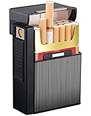 علبة سجائر مع ولاعة كهربائية قابلة لاعادة الشحن USB منفصلة، علبة سجائر من الالومنيوم المصقول لعبوة سجائر كاملة 20 قطعة، مقاومة للرياح، مقاومة للرطوبة والخدش