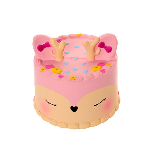 MENGWEI Squishies Jumbo Pink Deer Cake Squishies Slow Rising Stress Reliever Toy Soft Scent for Kids and Adults Gift.
