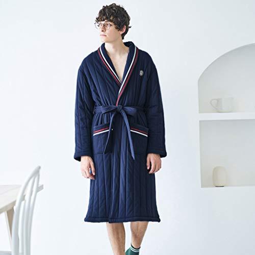 De Bata M Larga Manga Con Pijamas Blue Cintura Blue Gruesa Camisa Size Algodón Invierno Acolchada color RF6xvn