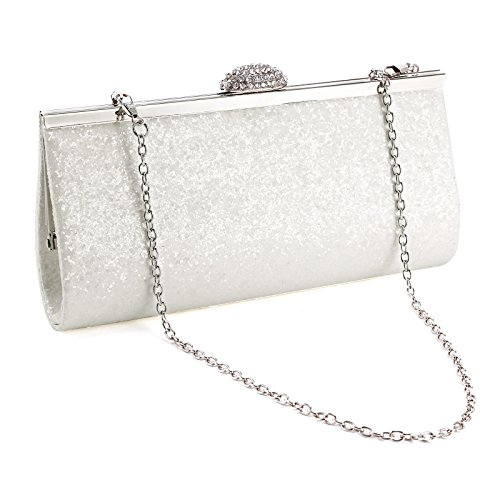 NEW BAG GOLD PURSE PROM White PARTY CLUTCH WOMENS GLITTER SILVER SPARKLY BRIDAL rx7qRr