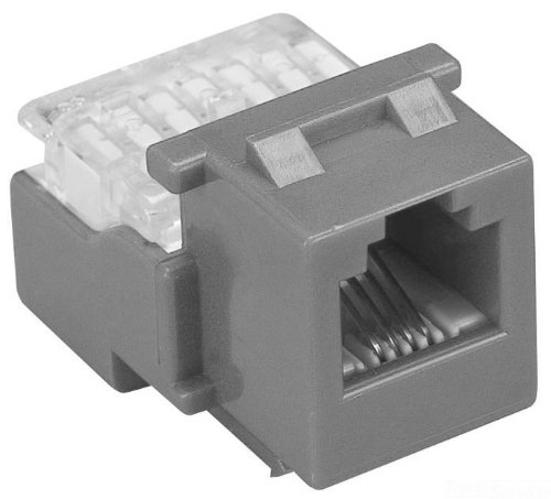 Allen Tel AT28-14 Category 3 Compact Jack Module, Grey, 1 Port, EIA/TIA 568A/B Wiring, 110 Termination, 8 Conductor