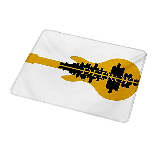 Mouse Pad Rubber Mousepad Detroit,High Rise Buildings Silhouette Reflection Electric Guitar Instrument Music Theme,Yellow Black,Personality Desings Gaming Mouse Pad 9.8