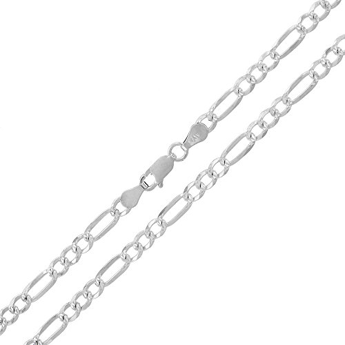 Sterling Silver Italian 4mm Figaro Link Diamond-Cut Solid 925 Necklace Chain 16