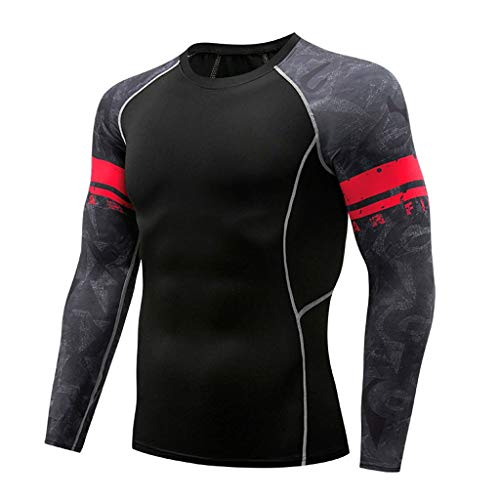 - Men's Casual Fitness T-Shirt Crewneck Quick Drying Elastic Tops Pants Long Sleeve Sports Tight Suit (L, Black)