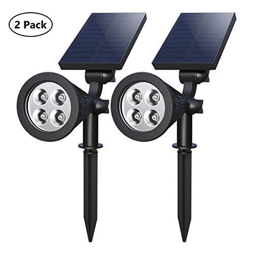 Solar Spotlights, 10-in-1 LED Landscape Solar Lights, 180° Adjustable Waterproof Outdoor Security Lighting Landscape Lighting with Auto On/Off and High/Low Mode for Backyard Patio Driveway Lawn [並行輸入品] B07RB2DDL1