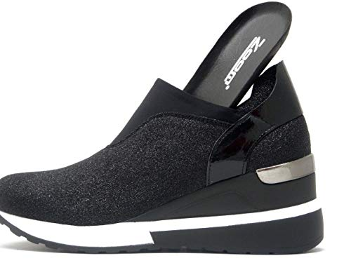 Tessuto Elasticizzate Bassa Glitter Con Cm In Sneakers Estraibile Donna Zoom Zeppa Plantare 8808 4 Nero UERwqIPZpW