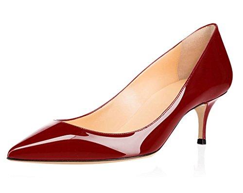 ELASHE Gattino tacco 1 Scarpe Donna Vino Classiche Tacco col Scarpe Scarpe da 5CM 6 fgfrw