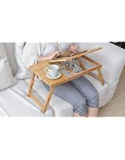 طاولة سرير للاب توب قابلة للطي ويمكن حملها مزودة بمروحة تبريد ومنفذ USB مصنوعة من خشب الخيزران