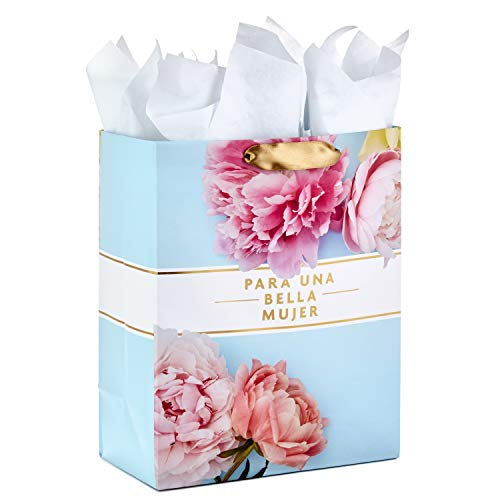 Hallmark VIDA Large Spanish Gift Bag with Tissue Paper for Birthdays, Mother's Day, Bridal Showers, Weddings, Anniversaries or Any Occasion (For a Beautiful Woman/Para Una Bella Mujer)