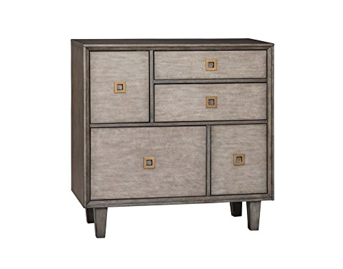 Light Oak Brass Pull 3 - Scott Living 3-Drawer Accent Cabinet Weathered Grey