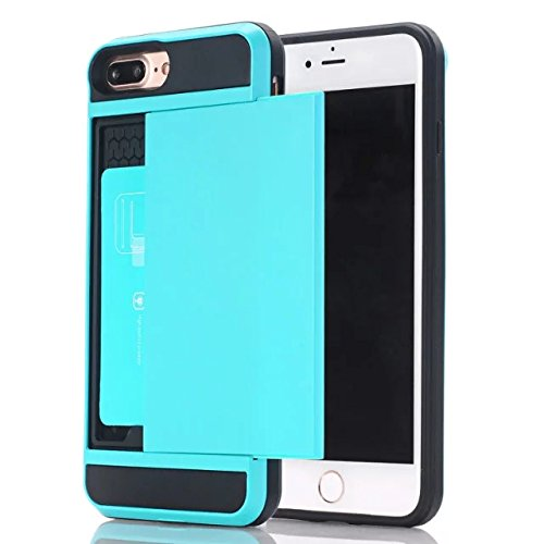 iPhone 5C Case,Berry Impact Resistant Hybrid iPhone 5C Wallet Case Shell Shockproof Rugged Rubber Bumper Anti-scratch Hard Cover Skin Card Holder for Apple iPhone 5C Sky Blue