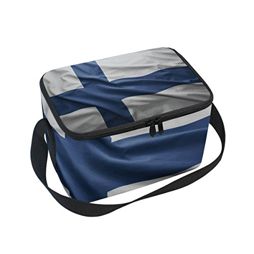 - Finland Flag Insulated Lunch Box Cooler Bag Reusable Tote Picnic Bags for Travel, Camping, Hiking and RVing