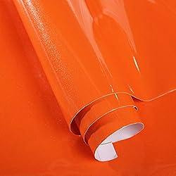 Bestevers Solid Color Pearl Film Vinyl Self Adhesive Counter Top Peel Stick Wallpaper Decal,24''x79'' (Orange)