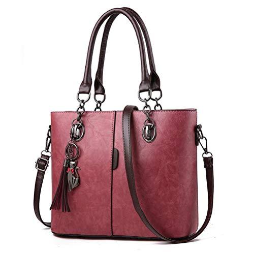 Winter Women Hit Color Leather Handbags Casual Tote Bags Crossbody Bag Top-Handle Bag With Tassel And Cat Pendant