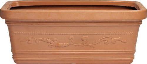 Vaso Rettangolare Resina Festonato Maxi misura 60x32x28H cm color Terracotta
