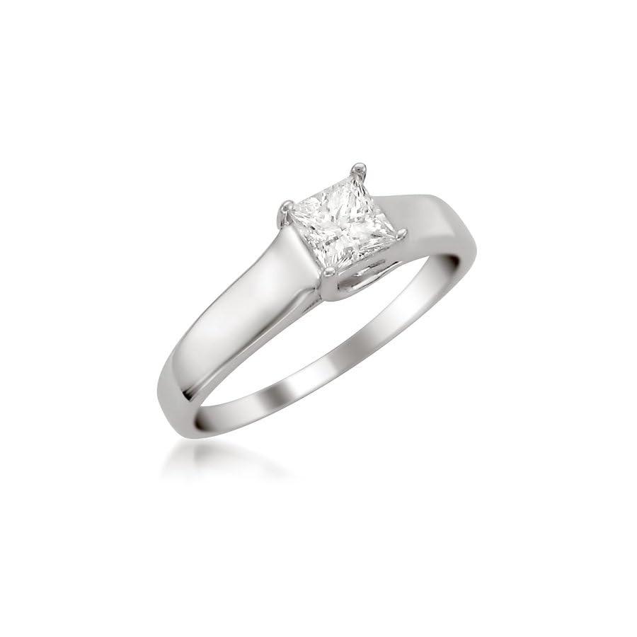 14k White Gold Princess cut Diamond Solitaire Engagement Ring (1/2 cttw, H I, I1 I2)