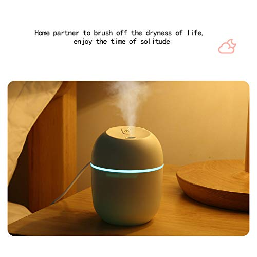 Mini humidifier-Advanced humidifier with 220ml Water Tank, Silent ultrasonic humidifier with Cold Mist, Automatic Shutdown and Long Battery Life (White)