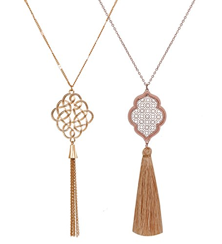 - ALEXY 2Pcs Long Chain Pendant Necklace Set, Filigree Quatrefoil and Celtic Knot Pendant Tassel Y Necklaces for Women (A Gold + Rose Gold)