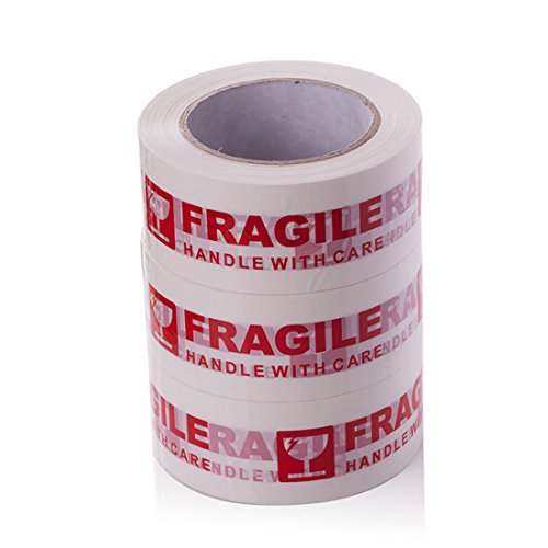 """3 Rolls 328 ft x 2'' ''Fragile Handle with Care"""" Warning Sealing Tape,Packaging Tape Printed Message"""