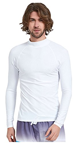 ilishop Men's Rash Guard Long Sleeve UPF 50+ Quick Dry Surfing Wetsuit Solid Swim Shirt White S -