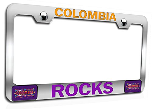 (Makoroni - COLOMBIA ROCKS Colombian Ch Steel Auto SUV License Plate Frame, License Tag Holder )