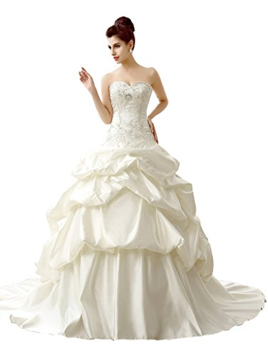 Edith qi Strapless Ruched Taffeta Pick-Up Skirt Wedding Dress Bridal (Pickup Ball Gown)