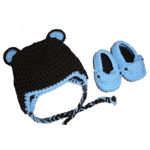 Sweet Lullabiez Handmade Bear Beanie & Loafers Set in Brown & Baby Blue Size 0-3 Months
