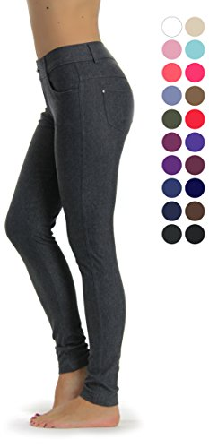 (Prolific Health Women's Jean Look Jeggings Tights Yoga Many Colors Spandex Leggings Pants S-XXL (X-Large, Grey))